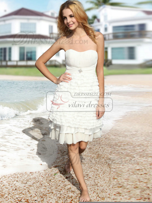 Precious A-line Strapless Knee-length Tiered Cocktail/Graduation Dresses