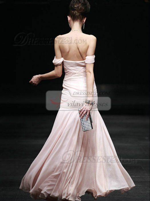 Precious Mermaid/Trumpet Off-the-shoulder Floor-length Draped Prom/Evening Dresses