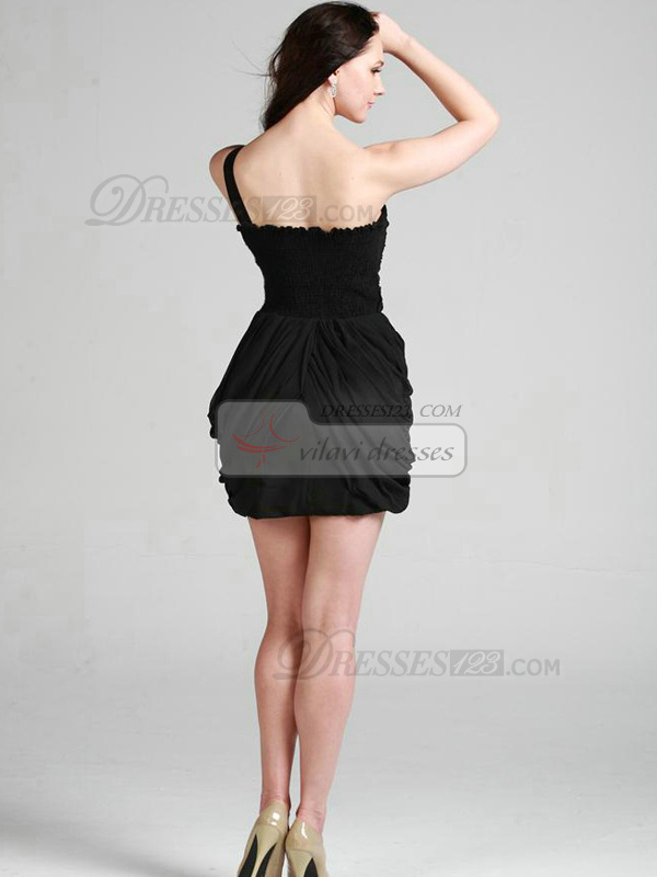 Precious Sheath/Column One shoulder Short/Mini Sashes Cocktail Dresses