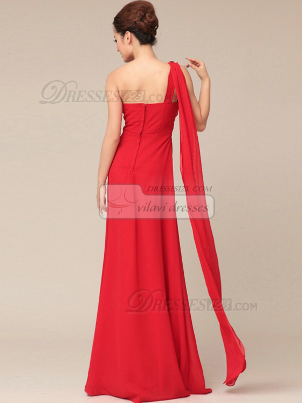 Pure Color Classic Sheath/Column Chiffon One shoulder Evening/Prom Dresses