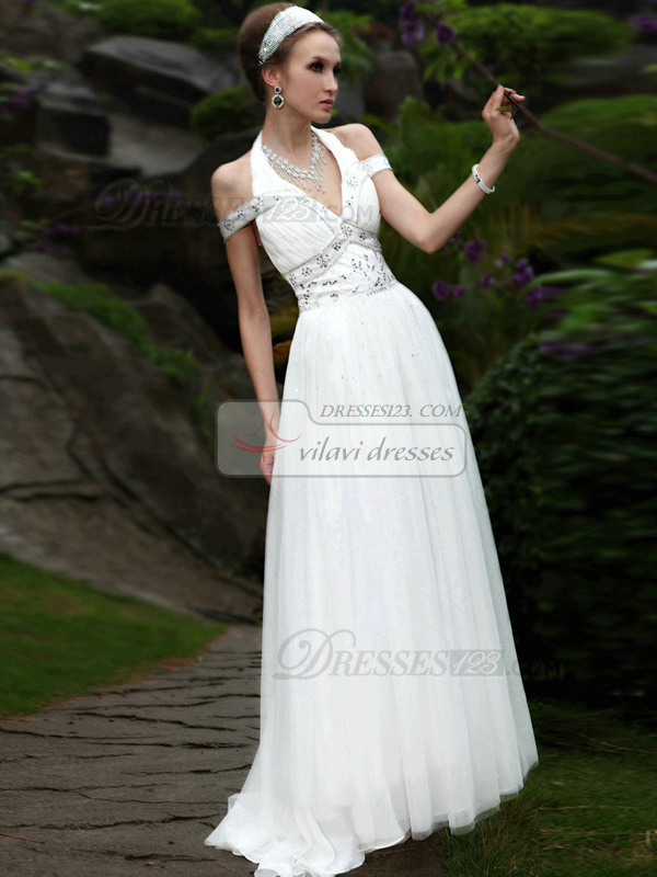 Sexy A-line Off-the-shoulder Sweep Criss-cross Prom/Evening Dresses