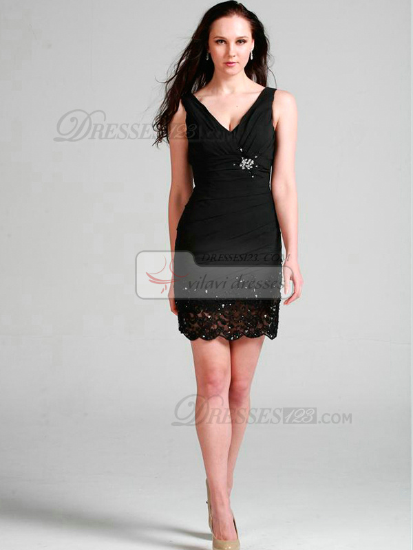 Sexy Sheath/Column Chiffon Short/Mini Lace Cocktail Dresses
