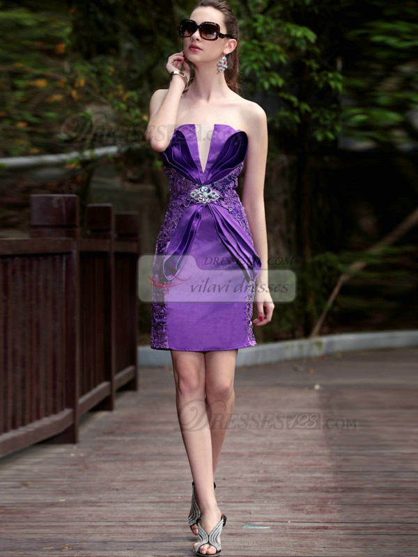 Sexy Sheath/Column Satin V-neck Embroidery Cocktail/Prom Dresses
