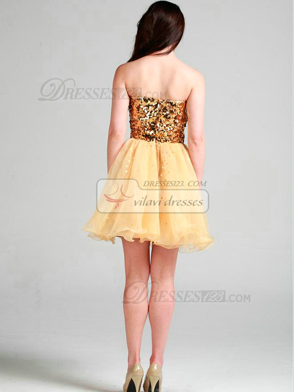 Shining Princess Organza Sweetheart Sequin Cocktail/Prom Dresses