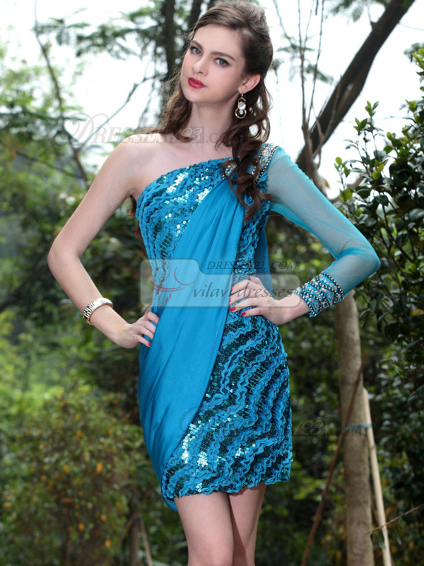 Shining Sheath/Column One shoulder Short/Mini Sequin Cocktail/Prom Dresses