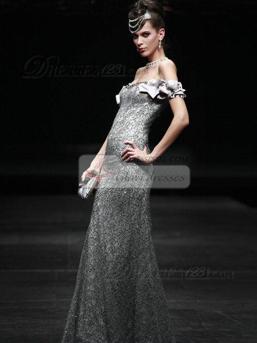 Shining Sheath/Column Sequined Off-the-shoulder Floor-length Prom/Evening Dresses
