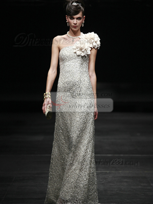 Shining Sheath/Column Sequined One shoulder Flower Prom/Evening Dresses