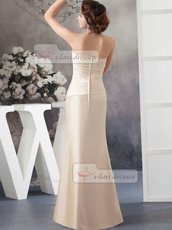 Trumpet Strapless Floor-length Satin Crystal Beading Evening Dresses
