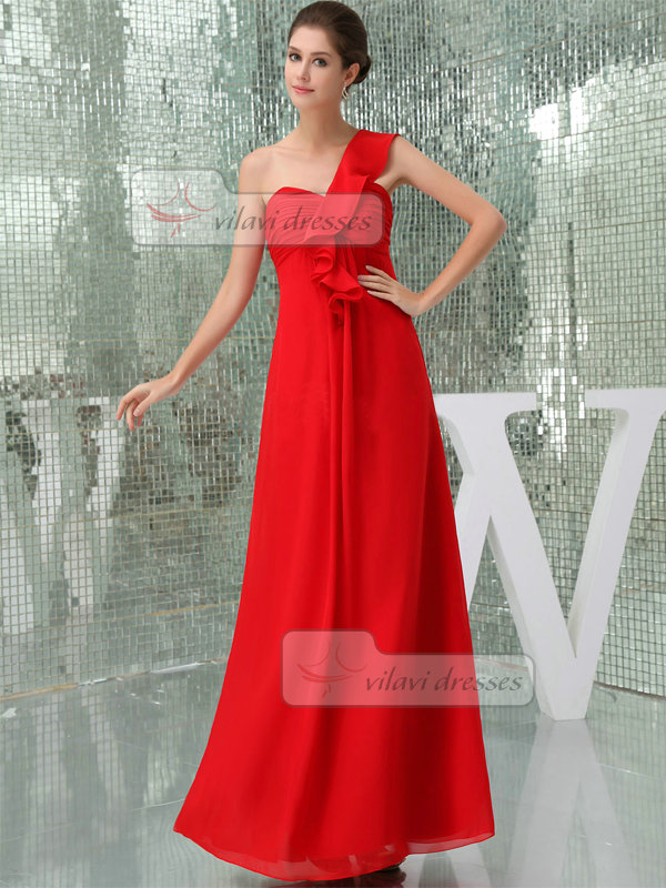Column One Shoulder Ankle-length Chiffon Tiered Evening Dresses