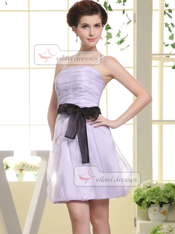 A-line Spaghetti Straps Knee-length Organza Sashes Cocktail Dresses