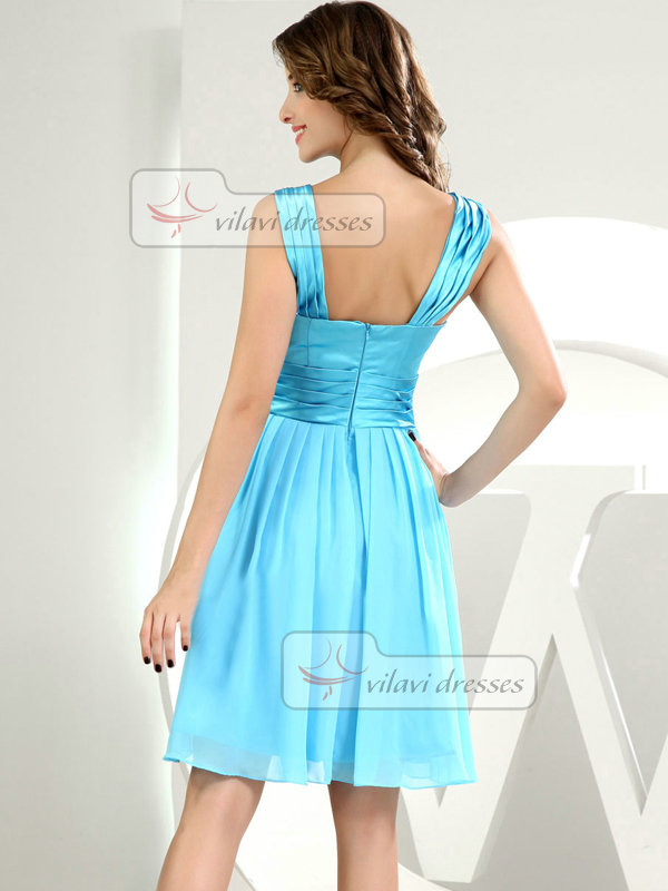 A-line Scoop Knee-length Chiffon Draped Cocktail Dresses