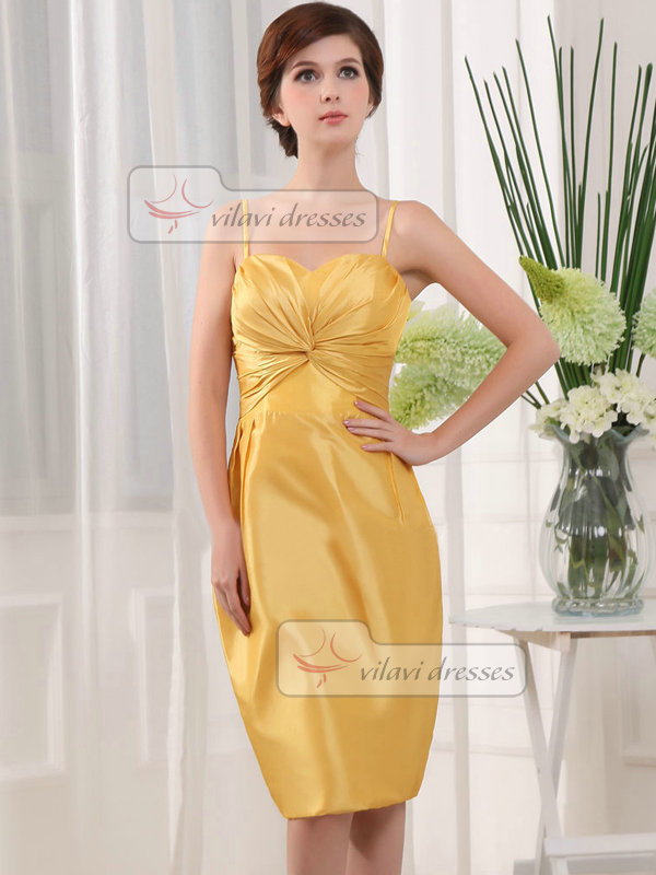 Sheath Spaghetti Straps Tea-length Satin Side-draped Cocktail Dresses