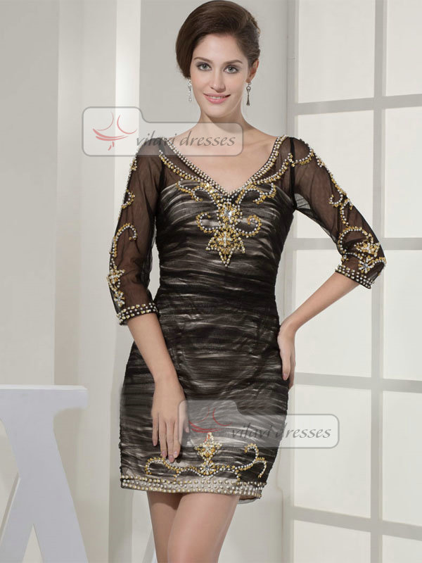 Sheath V-neck Short Tulle 3/4 Length Sleeve Wedding Guest Dresses With Beading