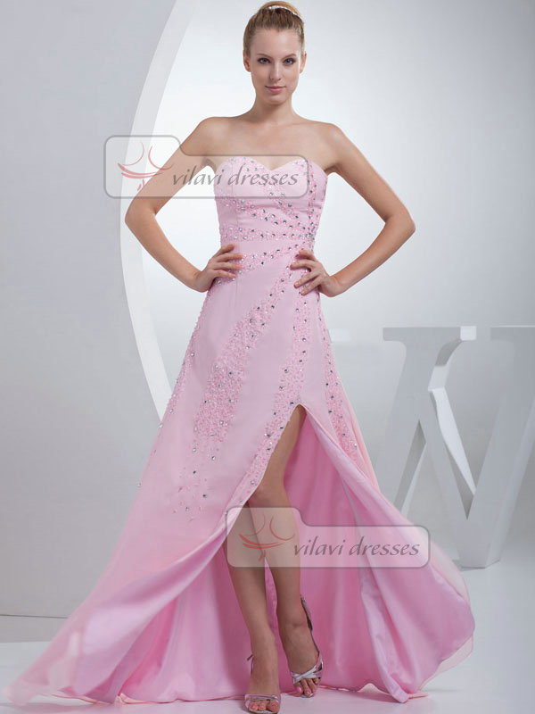 A-line Sweetheart Floor-length Chiffon Split Front Sequin Prom Dresses