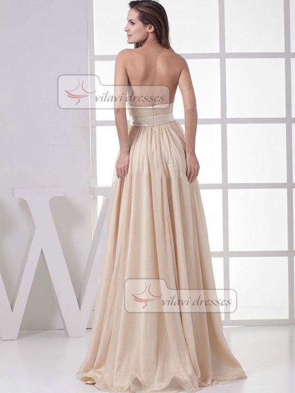 A-line Strapless Floor-length Chiffon Draped Evening Dresses