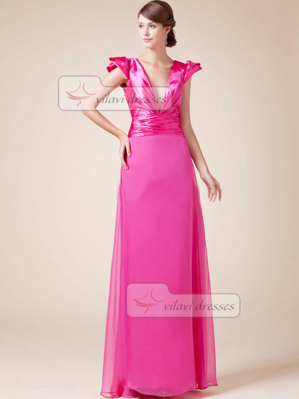 Column V-neck Floor-length Chiffon Tiered Cap Sleeves Prom Dresses