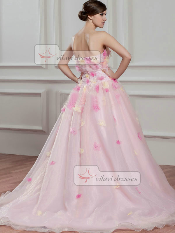 A-line Strapless Brush Train Organza Beading Flower Prom Dresses