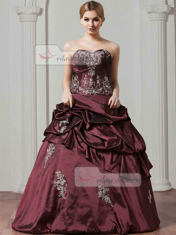 Ball Gown Sweetheart Floor-length Taffeta Embroidery Prom Dresses With Pick-Ups