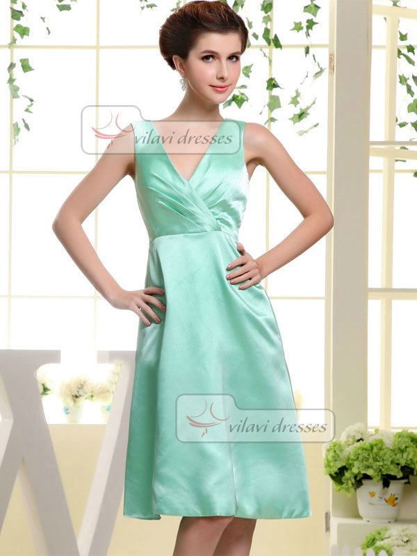 A-line V-neck Straps Knee-length Satin Prom Dresses