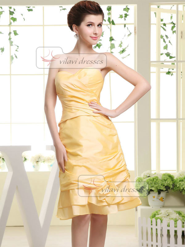 A-line Sweetheart Knee-length Taffeta Flower Side-draped Prom Dresses