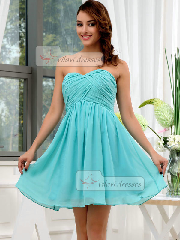 A-line Sweetheart Short Chiffon Draped Bridesmaid Dresses