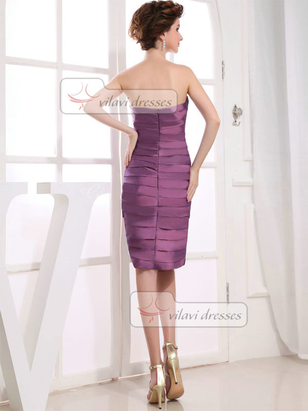 Column Tube Top Strapless Knee-length Taffeta Tiered Prom Dresses