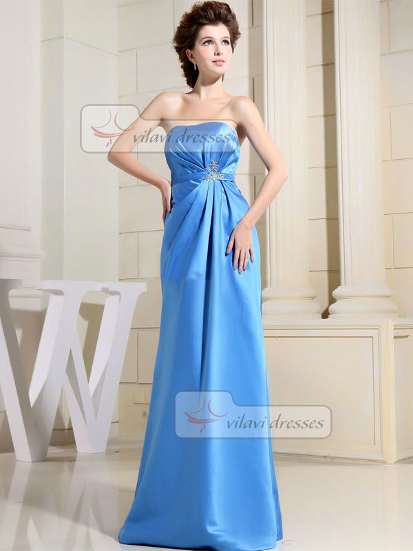 Column Sweetheart Floor-length Satin Crystal Side-draped Prom Dresses