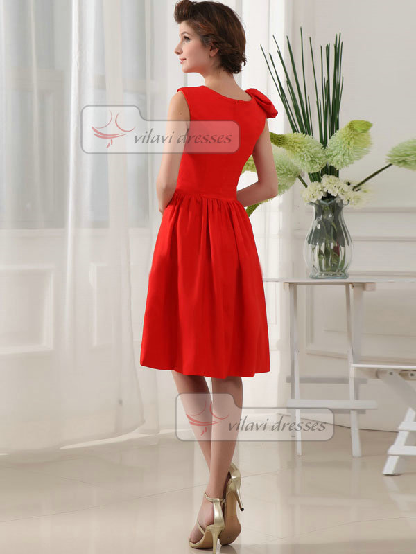 A-line Bateau Knee-length Stretch Satin Prom Dresses
