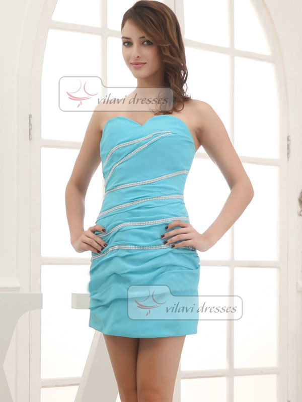 Column Sweetheart Short Chiffon Crystal Bridesmaid Dresses