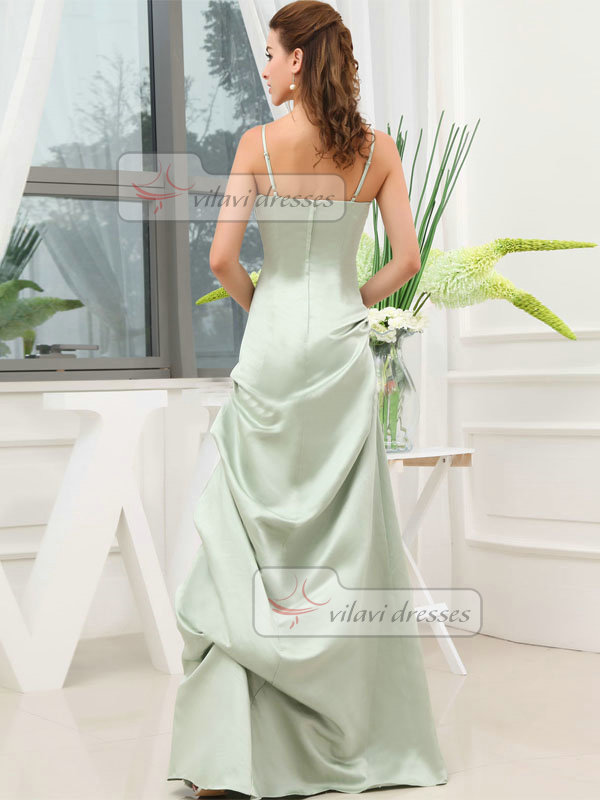 A-line Spaghetti Straps Floor-length Satin Pick-Ups Prom Dresses