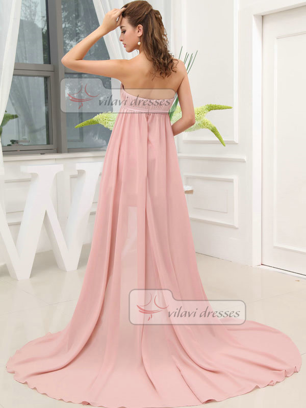 A-line Tube Top Brush Train Chiffon High Low Sashes Prom Dresses