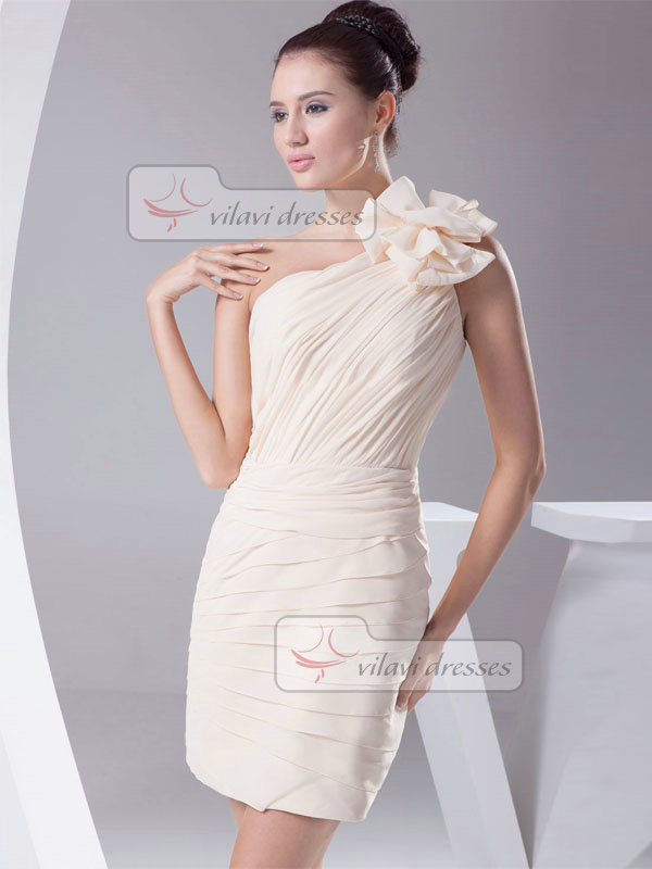 Sheath One Shoulder Short Chiffon Tiered Cocktail Dresses
