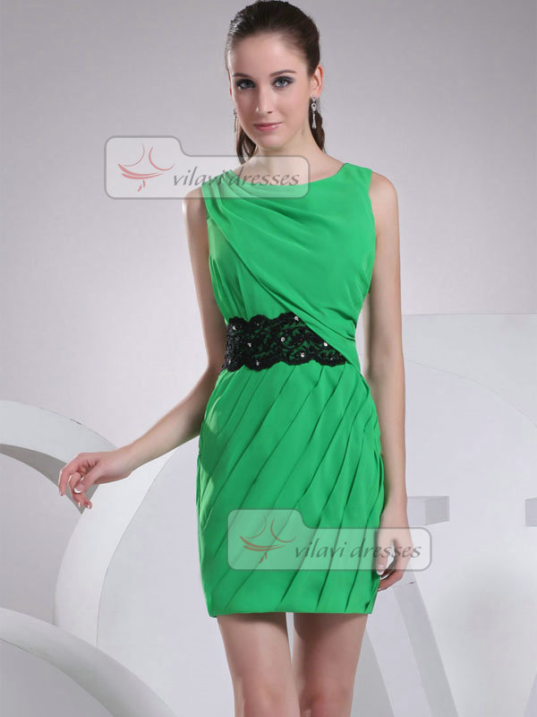 Sheath Bateau Short Chiffon Beading Sequin Cocktail Dresses