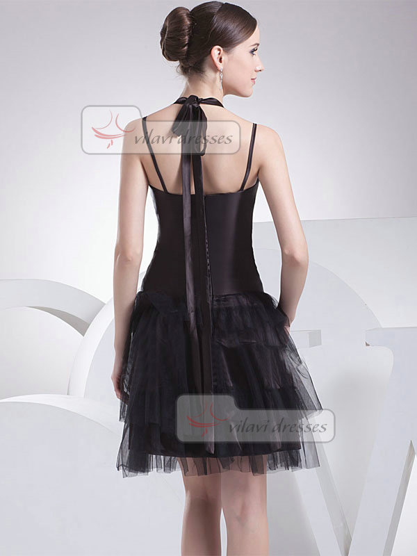 A-line Halter Short Tulle Tiered Cocktail Dresses