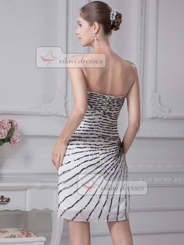 A-line Strapless Short Chiffon Sequin Cocktail Dresses