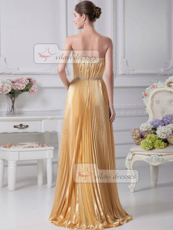 A-line Strapless  Stretch Satin Beading Sequin Prom Dresses