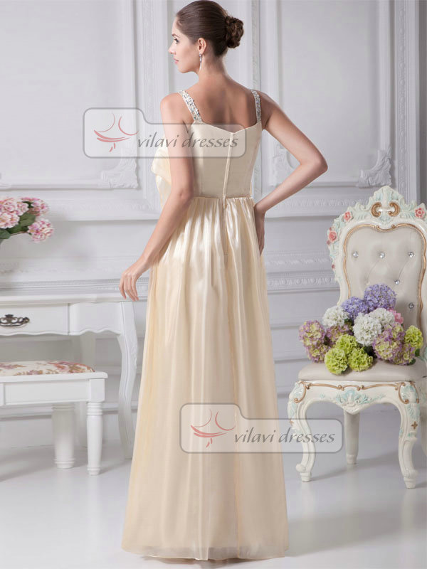 A-line Straps Floor-length Stretch Satin Beading Prom Dresses