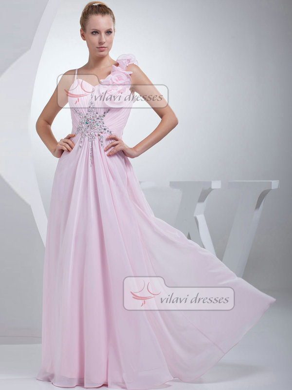 A-line Straps Floor-length Chiffon Beading Crystal Prom Dresses