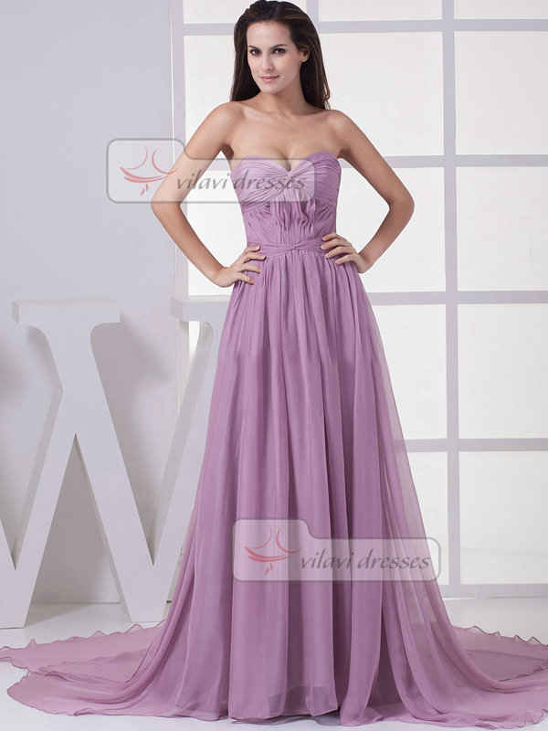 A-line Strapless Brush Train Chiffon Draped Evening Dresses