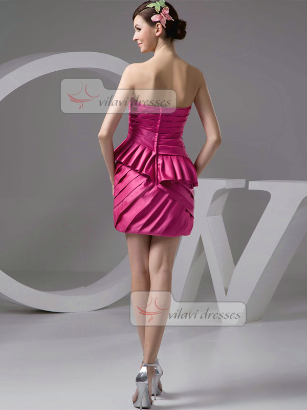 Sheath Sweetheart Strapless Short Satin Tiered Cocktail Dresses