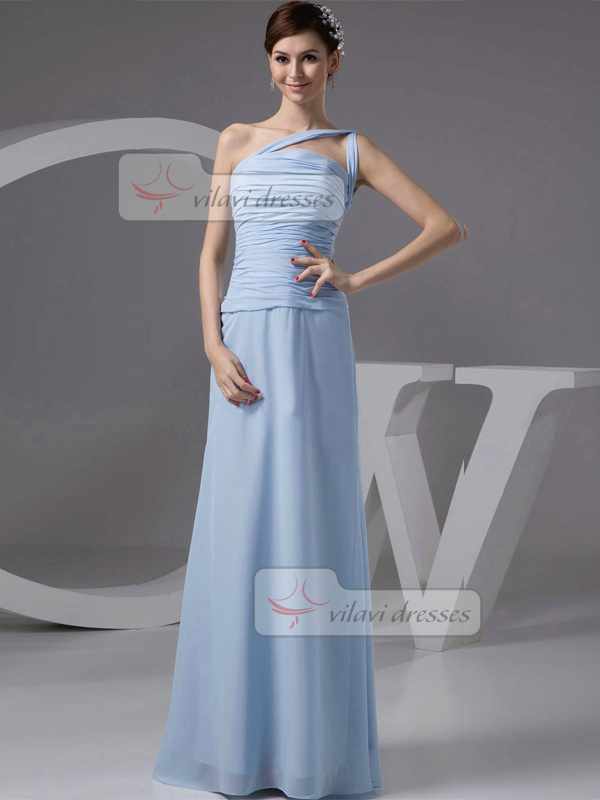 Column One Shoulder Floor-length Chiffon Tiered Prom Dresses
