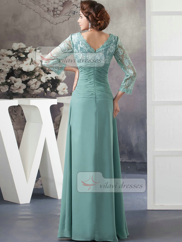 Column V-neck Floor-length Chiffon 3/4 Length Sleeve Lace Prom Dresses With Tiered