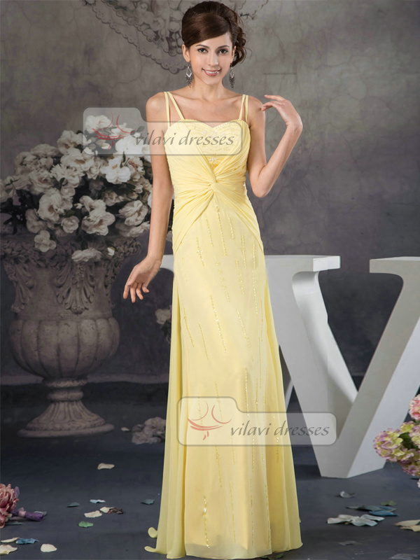 Column Spaghetti Straps Floor-length Chiffon Crystal Sequin Prom Dress