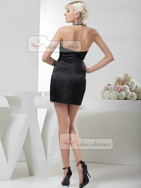 Column V-neck Halter Short Satin Beading Crystal Cocktail Dresses