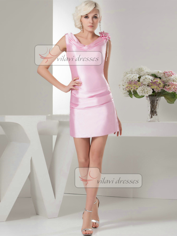 Column V-neck Short Satin Tiered Flower Crystal Cocktail Dresses