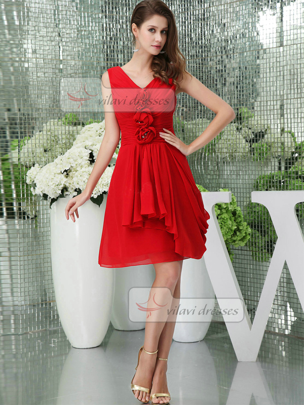 A-line V-neck Straps Short Chiffon Flower Crystal Tiered Prom Dresses