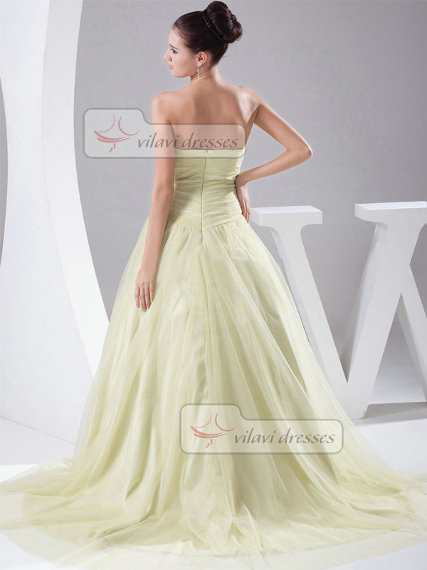 Ball Gown Strapless Brush Train Tulle Draped Evening Dresses