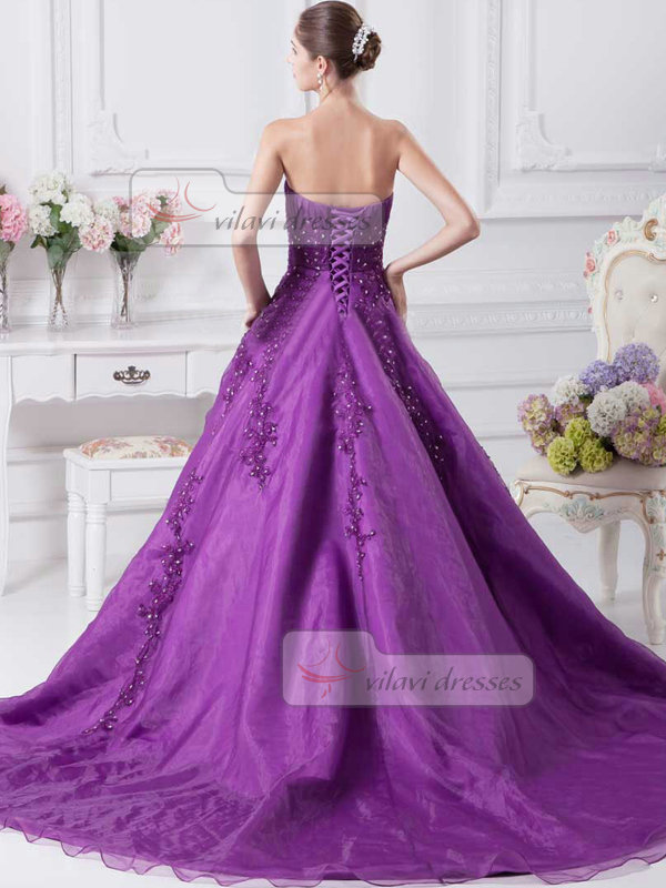 A-line Strapless Brush Train Organza Crystal Prom Dresses