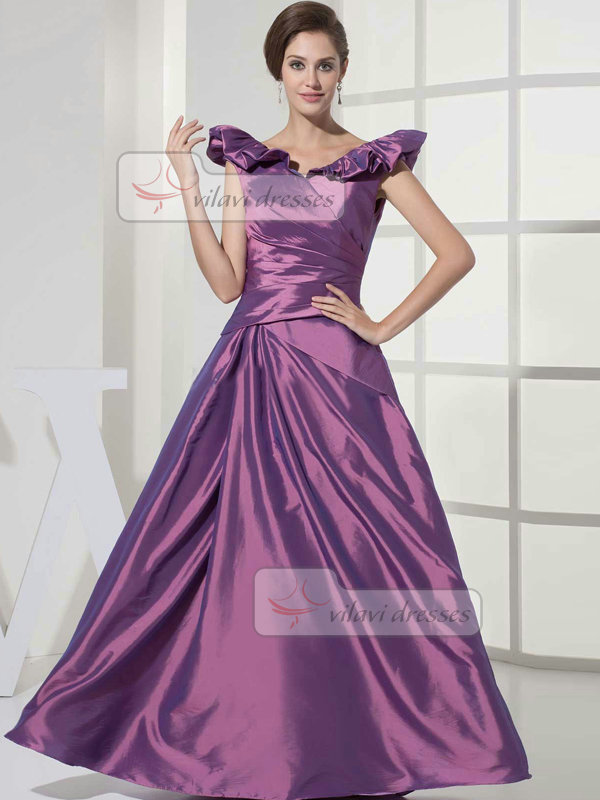 A-line Off-the-shoulder Floor-length Taffeta Quinceanera Dresses With Side-draped