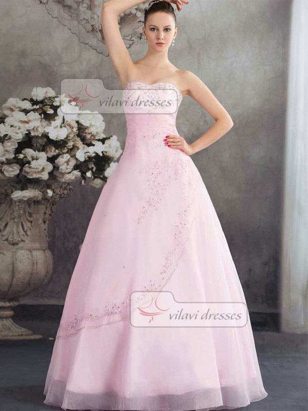 Ball Gown Strapless Floor-length Organza Beading Quinceanera Dresses
